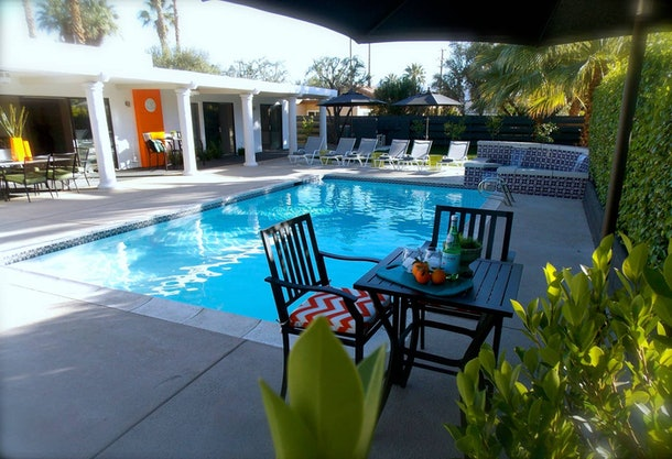 The pool in this Palm Springs home has lounge chairs for everyone to enjoy.