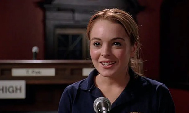 Cady Heron wins the mathletes trivia contest in 'Mean Girls.'