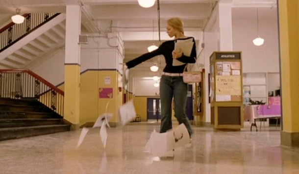 Regina George dispersing her burn book in 'Mean Girls.'