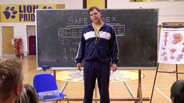 Coach Carr gives a terrible sex education lecture in 'Mean Girls.'