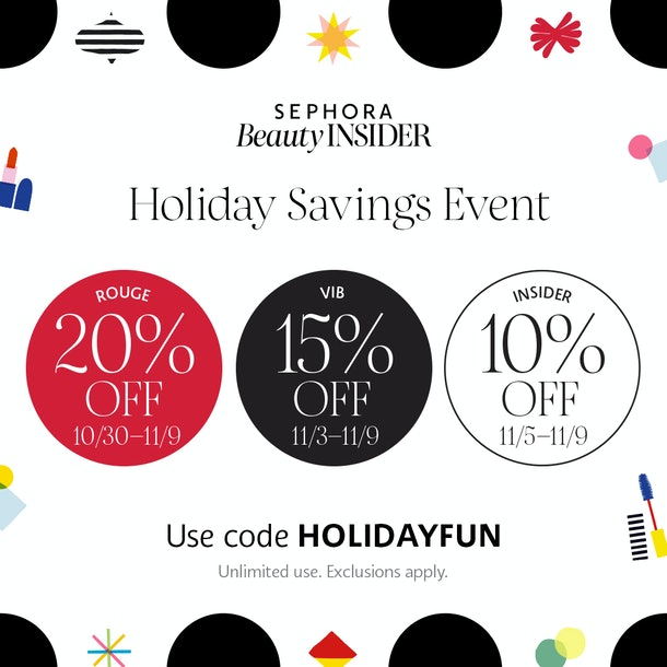 Depiction of Sephora's Holiday Savings Event including Rouge, VIB, and Insider breakdown.