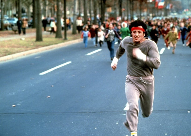 """Rocky Balboa in a gray sweatsuit from """"Rocky II."""""""