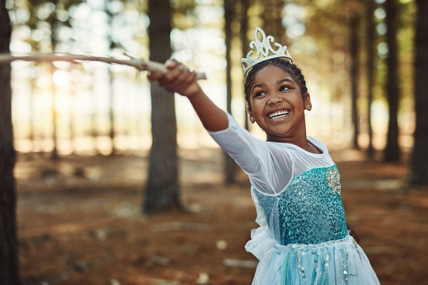 Little girl wearing princess costume