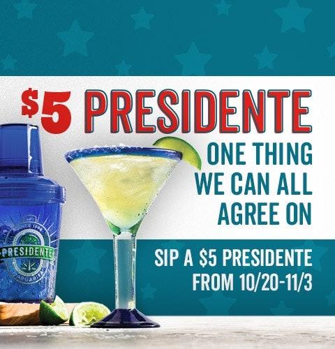 You can score a $5 Presidente Margarita at Chili's until Nov. 3.