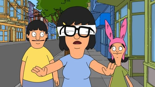 Tina Belcher walking blindfolded as Gene and Louisa watch.