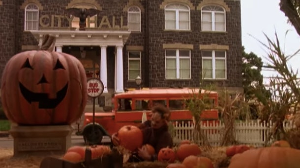 The town center of 'Halloweentown' has a massive jack-o-lantern in front of City Hall.