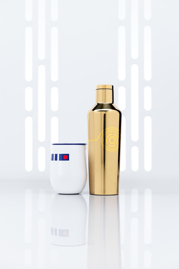 An R2-D2 cup and C-3PO tumbler from the 'Star Wars' Corkcicle collection sits in a white space.