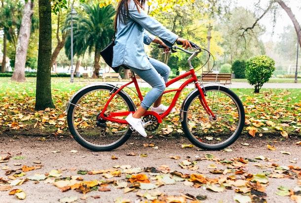 Young woman bike riding