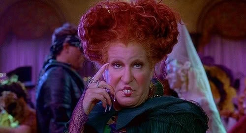 Winifred Sanderson from 'Hocus Pocus' looking into the camera.