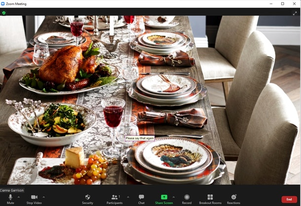 Some of the best Thanksgiving Zoom backgrounds include festive tables and cute messages.