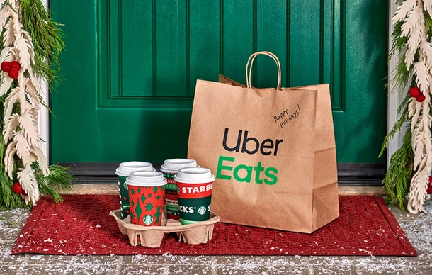 Starbucks is offering a $10 promo code to customers who order delivery on Uber Eats.