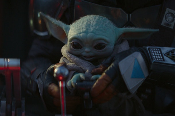 """Baby Yoda tries to operate a spaceship on """"The Mandalorian."""""""