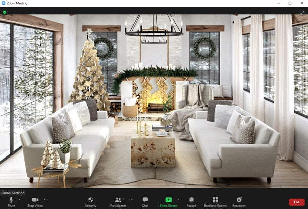These holiday Zoom backgrounds are full of festive decorations and pretty furniture.