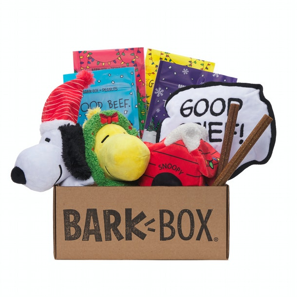 This Peanuts BarkBox has holiday toys with your favorite characters