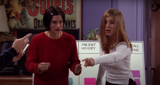 Monica and Rachel try to remember what Chandler's job is in a competition for the apartment on 'Friends.'