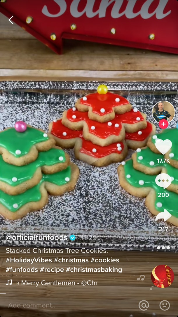 A TikToker makes Christmas cookies by using a classic sugar cookie recipe and stacking them to look like Christmas trees.