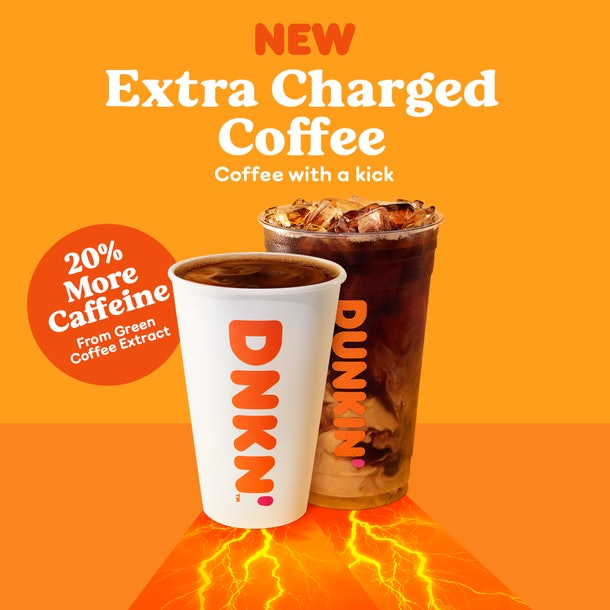 Here's how much caffeine you can expect in Dunkin's Extra Charged Coffee.