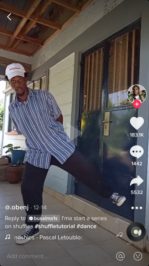 A TikToker @.obenj shows how to master the leg shuffle on his patio.