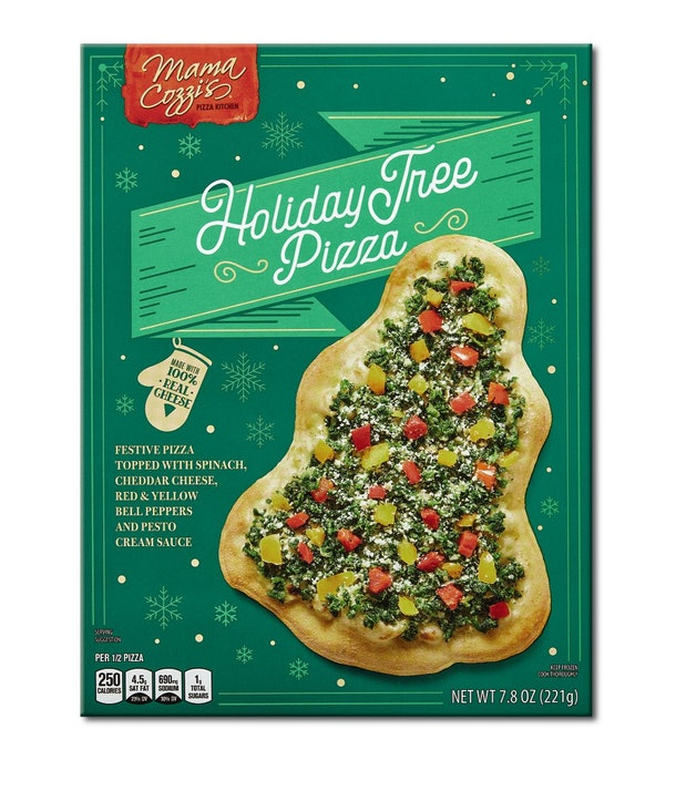 Aldi's December 2020  holiday finds include a tree-shaped pizza.
