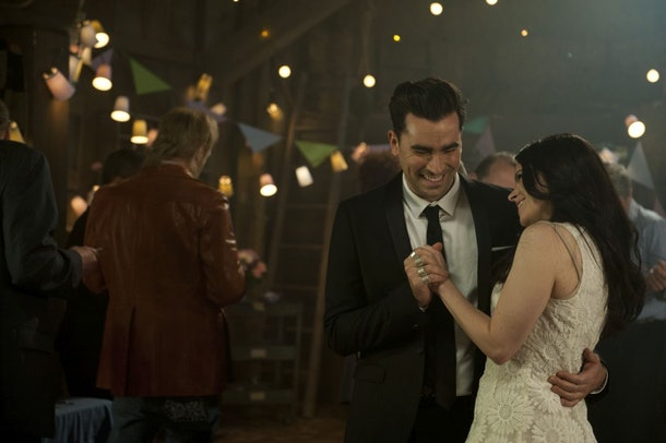 David Rose and Stevie dance together at the barn party in 'Schitt's Creek.'