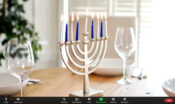 These Hanukkah Zoom backgrounds include so many festive scenes.