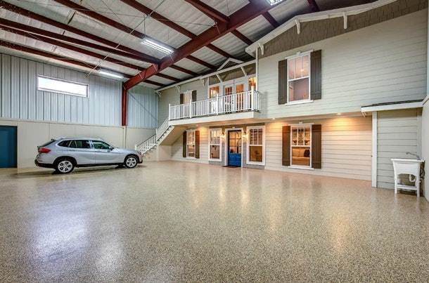 A two-bedroom home sits within an airplane hangar on Airbnb.