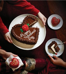Carvel's Chocolate Decadence Heart Cake features ice cream.