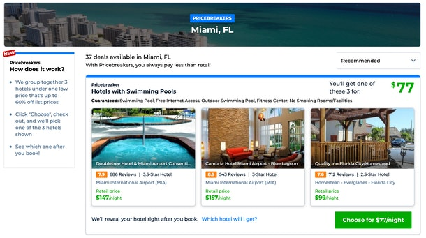 Priceline's Pricebreakers feature will show you options for cheap, high-rated hotels in spring break destinations.