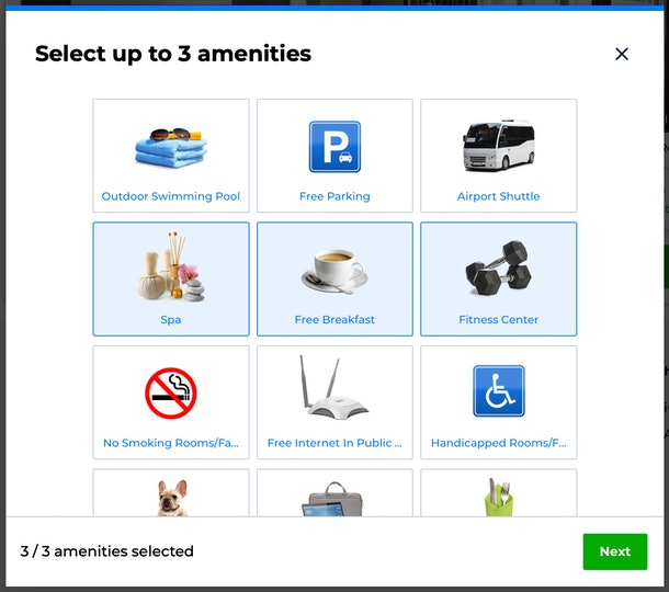 Priceline's Pricebreakers feature allows you to select up to three amenities and customize your search experience.