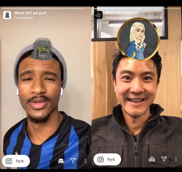 The best Instagram Story AR filters featuring your fave characters include some 'Game of Thrones' options.