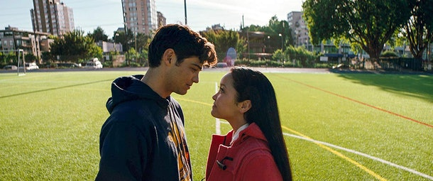 Lana Condor and Noah Centineo stand on a soccer field in 'To All the Boys I've Loved Before.'