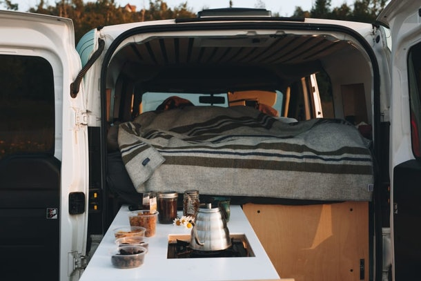 A 2016 Dodge Promaster City in Austin, Texas expands to give travelers room to cook.
