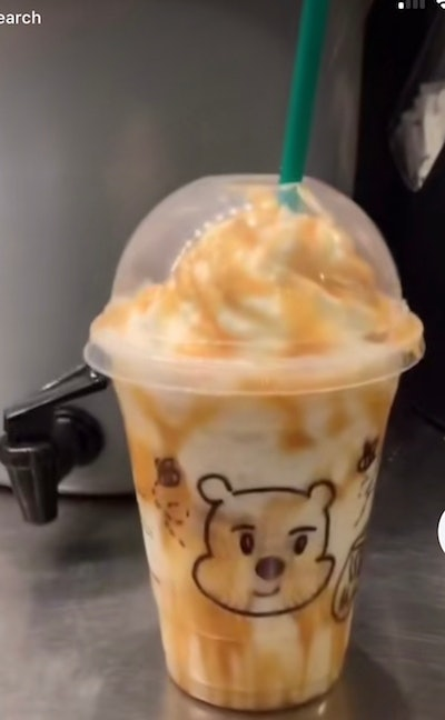 Here's how to order a Winnie The Pooh Frappuccino at Starbucks for a sweet sip.