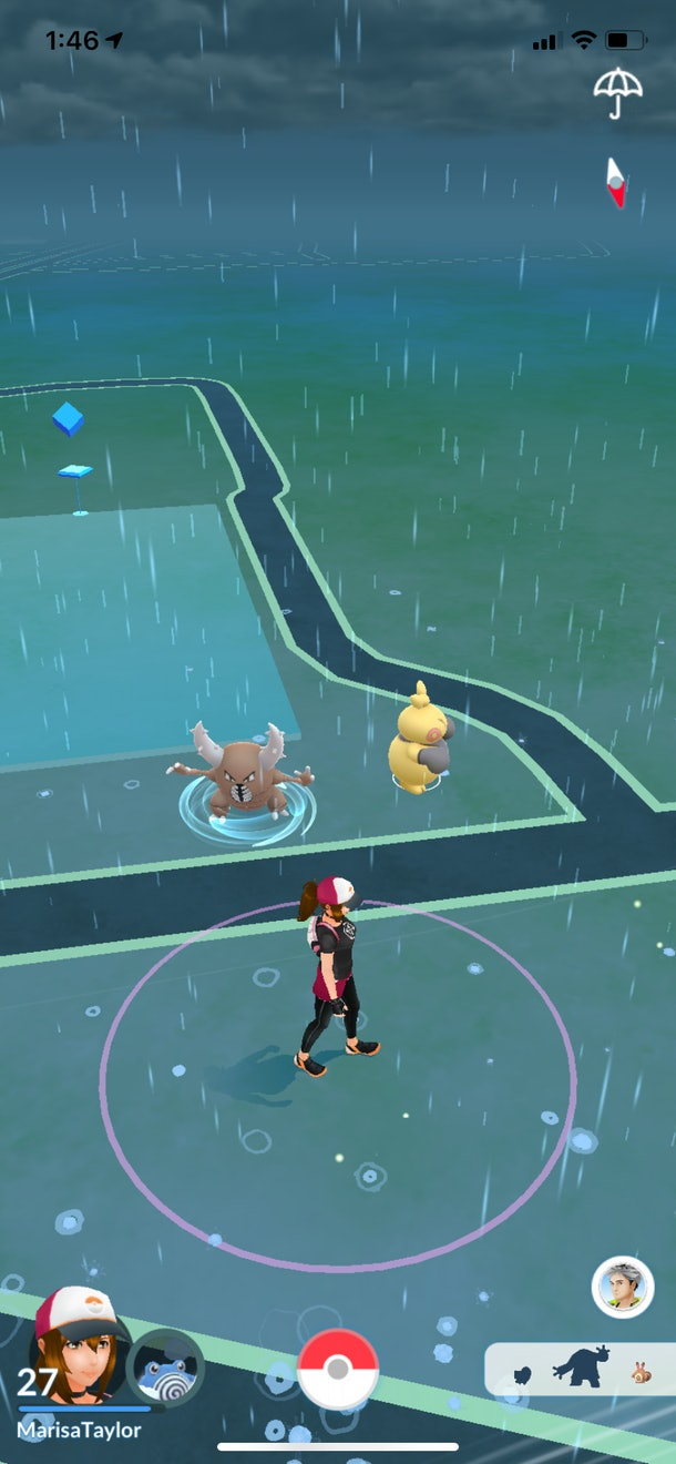 Pokémon GO features a map where players can tap on Pokémon to catch them and navigate a main menu.
