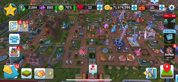 RollerCoaster Tycoon® Touch™ allows players to build their own amusement park, collect coins, and more.