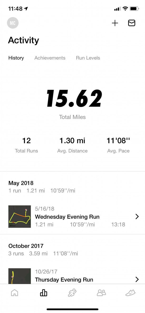 Nike Run Club tracks and logs your activity history, and gives you stats based on your workouts.