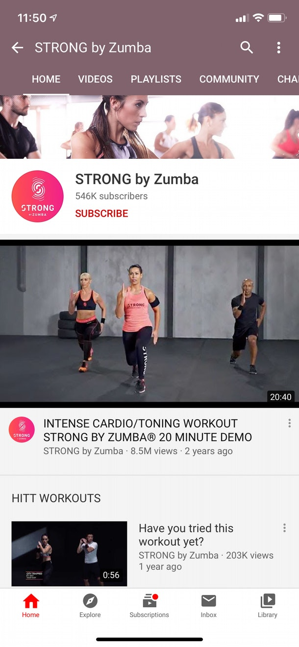 STRONG by Zumba can be accessed on the YouTube app for at-home workouts and intense cardio sessions.