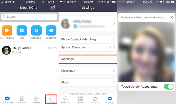 "How to get Zoom's ""Touch Up"" feature for a smoother video call."