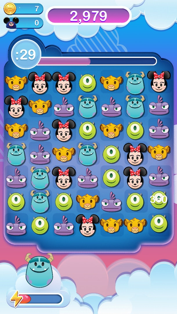 Emoji versions of Disney characters are arranged in a puzzle on Disney Emoji Blitz.