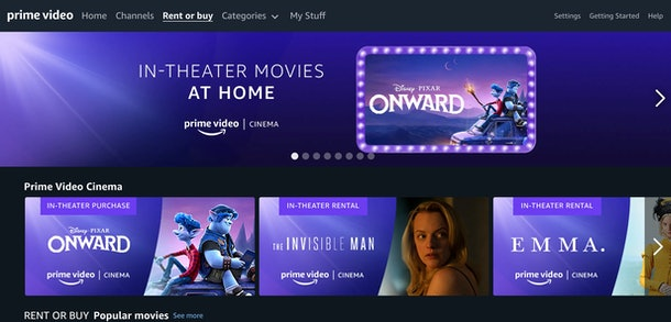 Amazon Prime Video has added a cinema hub for in-theater movies.