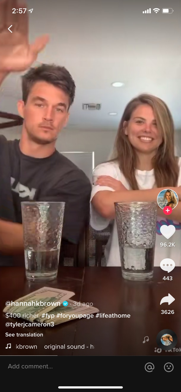 Hannah Brown and Tyler Cameron do the #yourturnchallenge on TikTok.