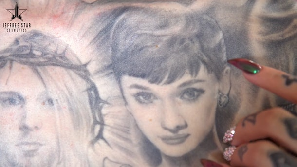 Jeffree Star's tattoo of Audrey Hepburn.