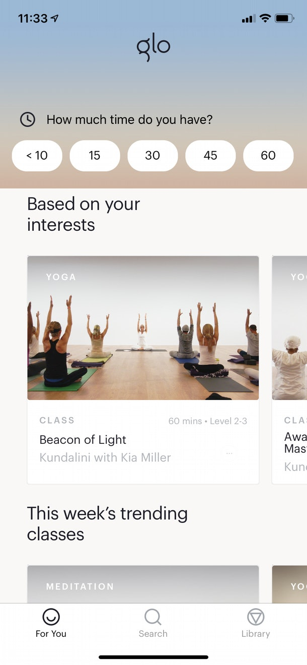The Yoga & Meditation by Glo app tailors sessions and workouts to your individual needs.
