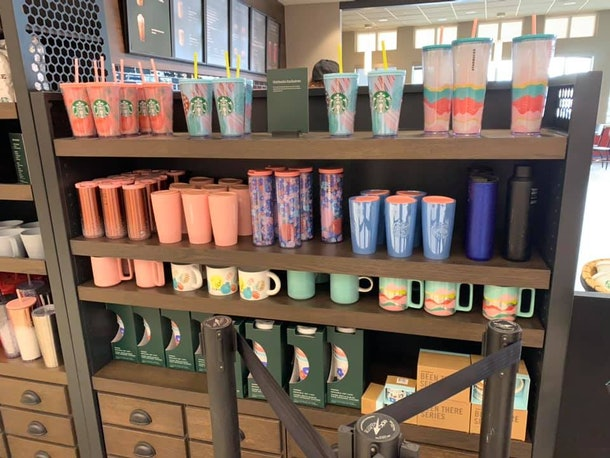 Starbucks' spring 2020 merchandise features pastel hues.