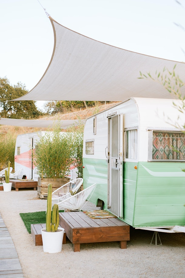 The Trailer Pond at Alta Colina Vineyard features many colorful vintage trailers with adorable outdoor patios.