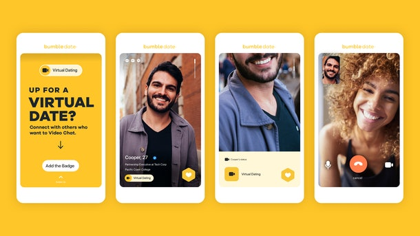 Bumble's new virtual dating features include a virtual dating badge, a new distance filter, and Audio Notes.