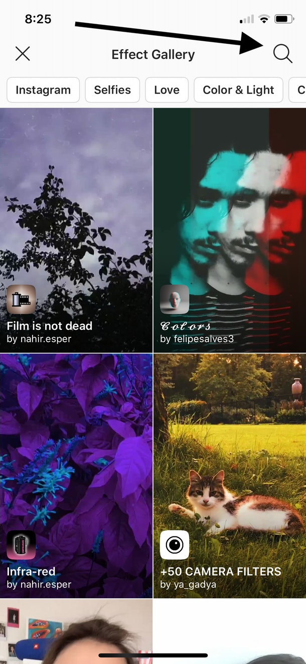 Here's how to search filters in Instagram.