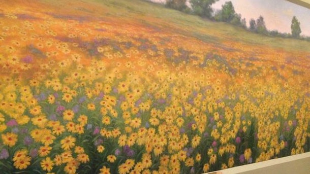 "Looking for Zoom backgrounds for first dates? The wildflower mural from ""Parks & Rec"" is a winner."