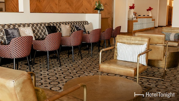 A cute table in a hotel restaurant is a great place to eat a snack or start a conversation.