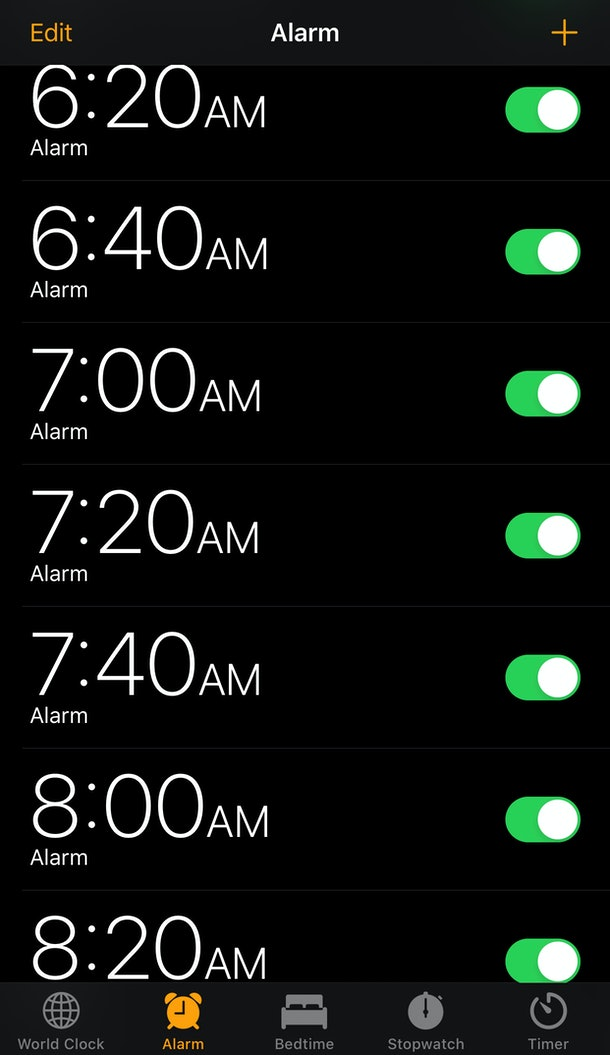 iPhone alarm set at 20 minute intervals
